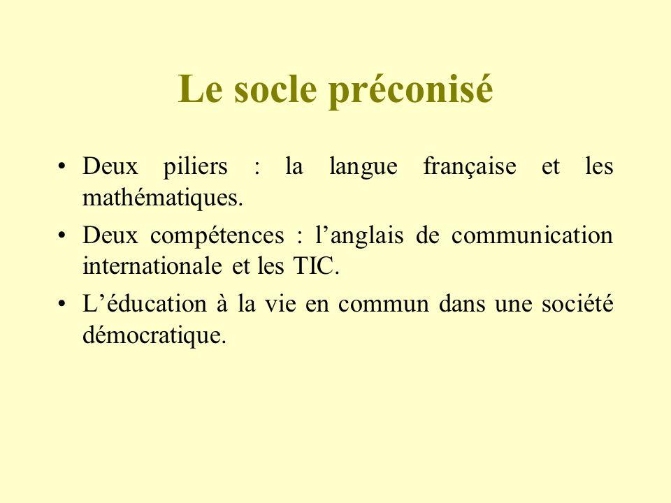 Le socle préconiséDeux piliers : la langue française et les mathématiques. Deux compétences : l'anglais de communication internationale et les TIC.