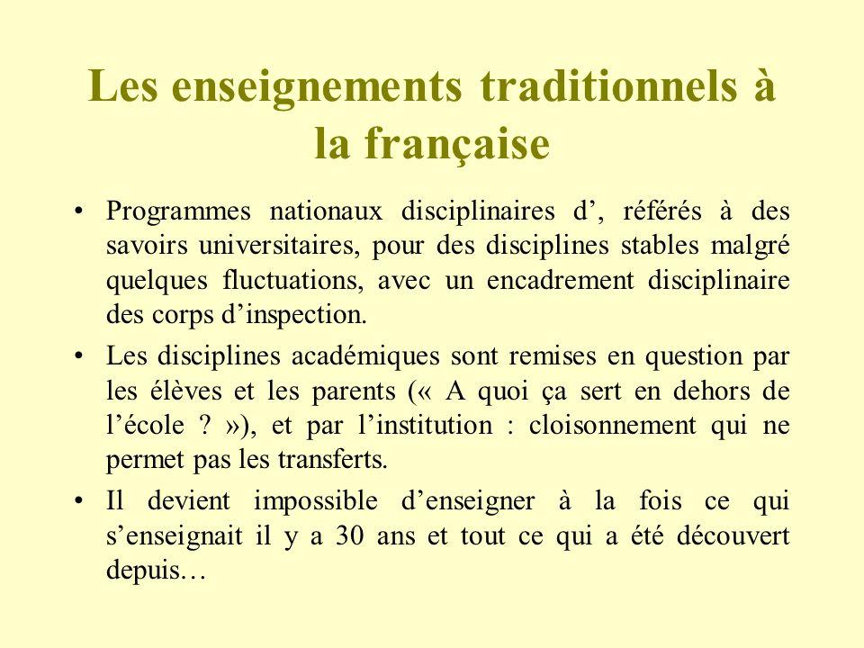 Les enseignements traditionnels à la française