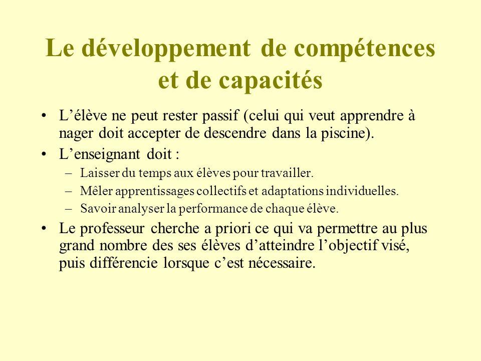 Le développement de compétences et de capacités