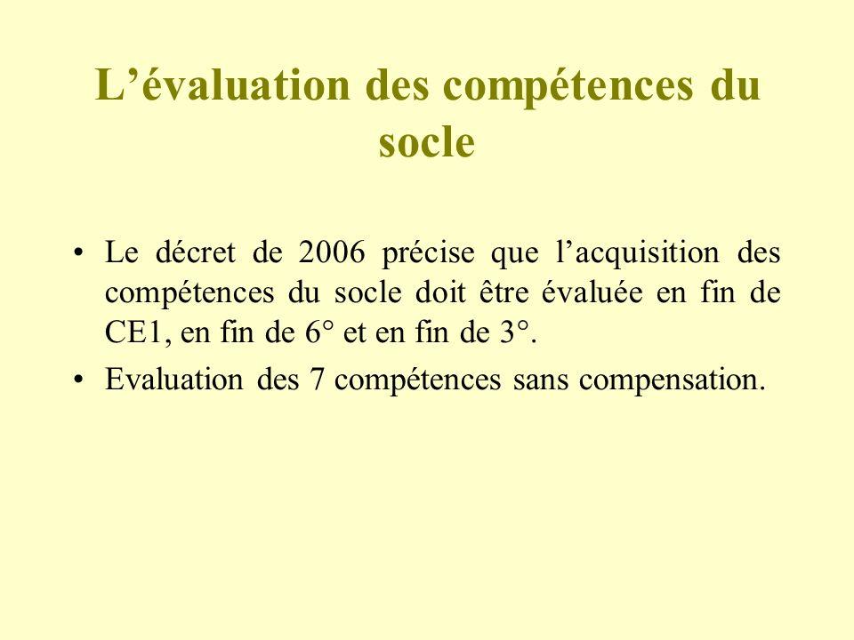 L'évaluation des compétences du socle