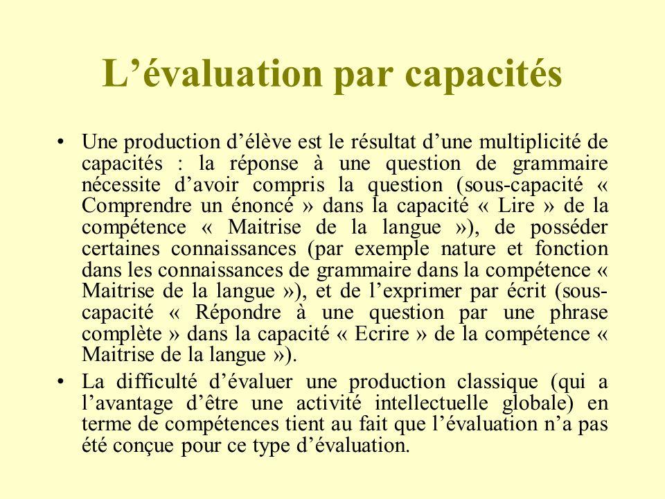 L'évaluation par capacités