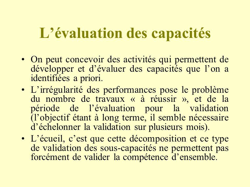 L'évaluation des capacités