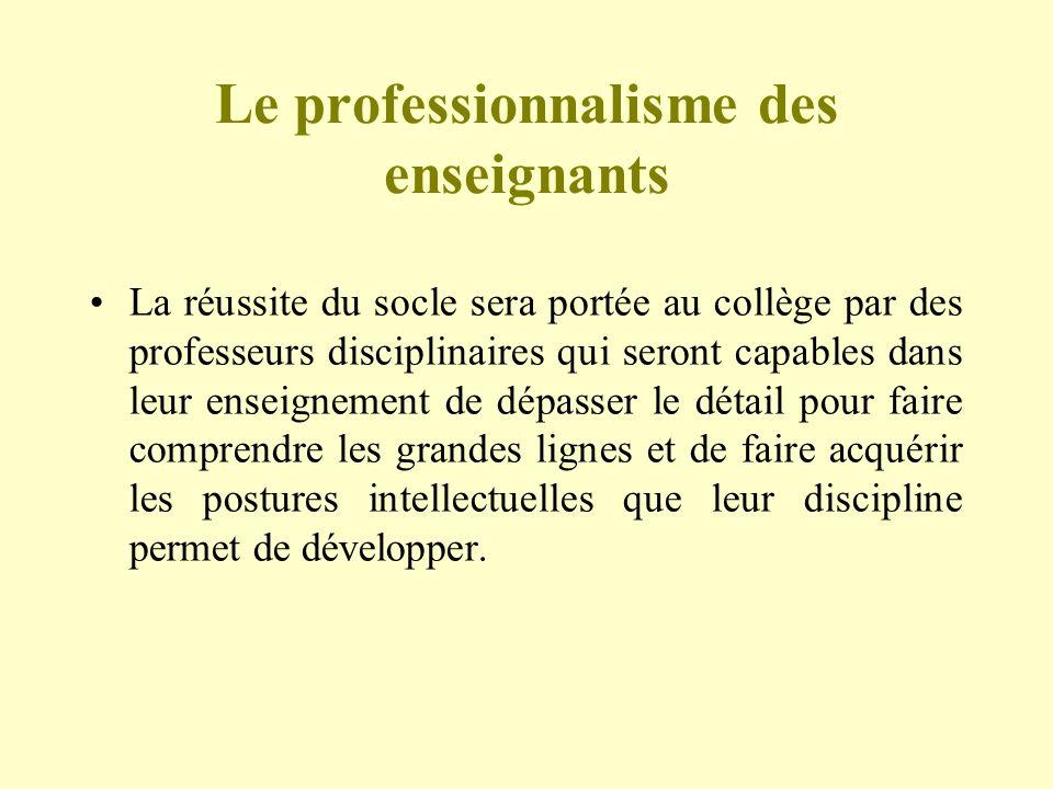 Le professionnalisme des enseignants