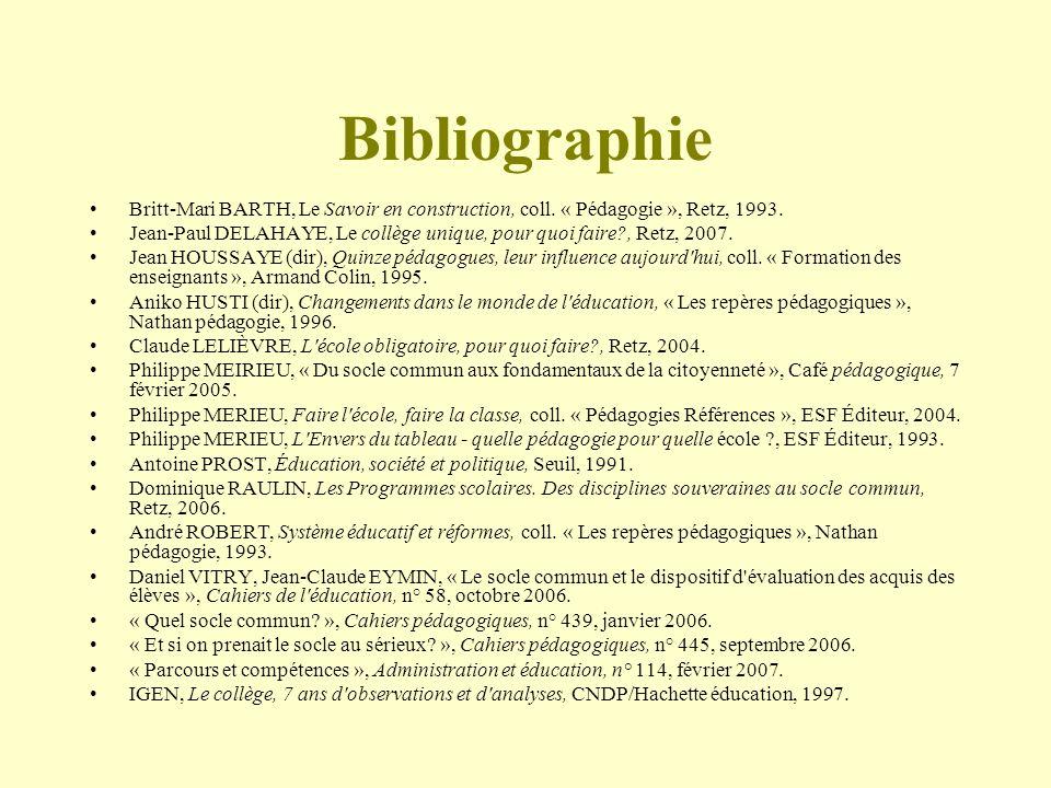 Bibliographie Britt-Mari BARTH, Le Savoir en construction, coll. « Pédagogie », Retz, 1993.