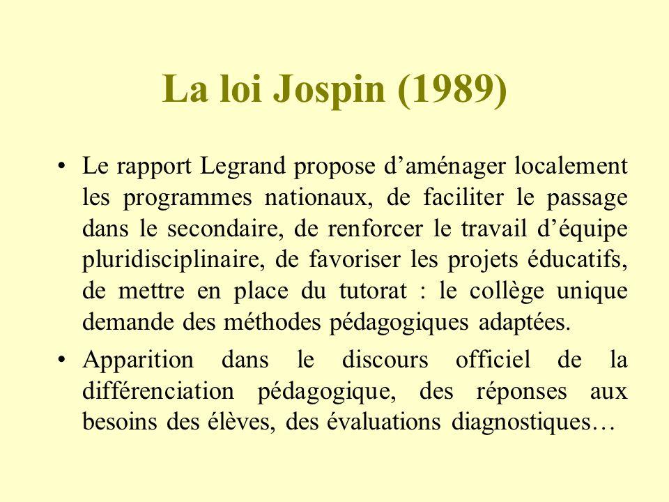 La loi Jospin (1989)