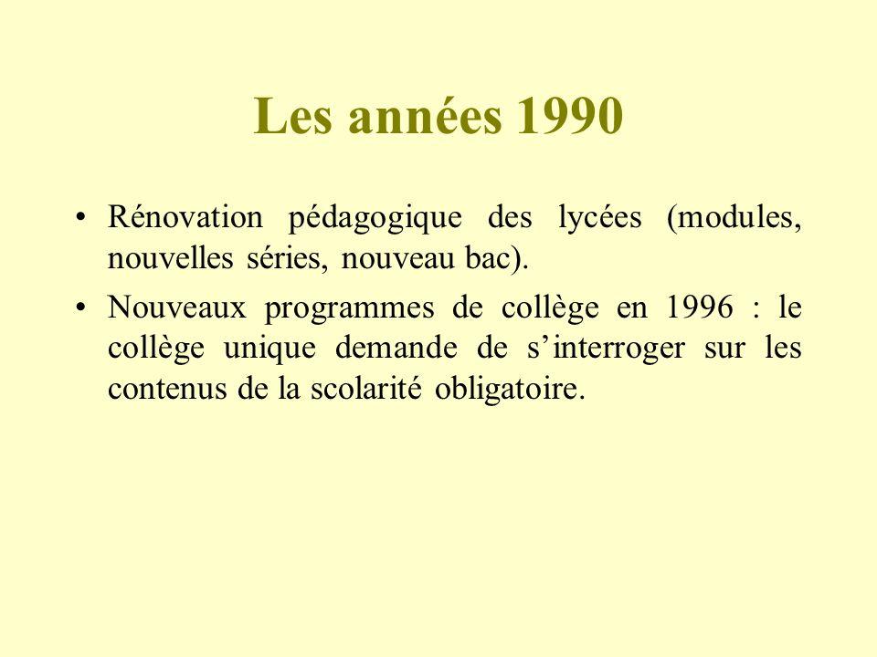 Les années 1990Rénovation pédagogique des lycées (modules, nouvelles séries, nouveau bac).
