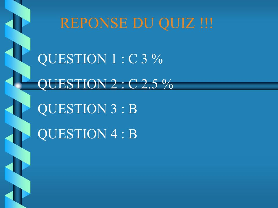 REPONSE DU QUIZ !!! QUESTION 1 : C 3 % QUESTION 2 : C 2.5 %