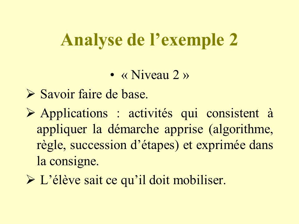 Analyse de l'exemple 2 « Niveau 2 » Savoir faire de base.