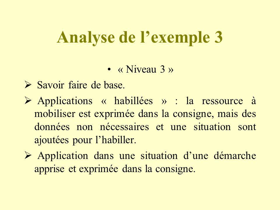 Analyse de l'exemple 3 « Niveau 3 » Savoir faire de base.