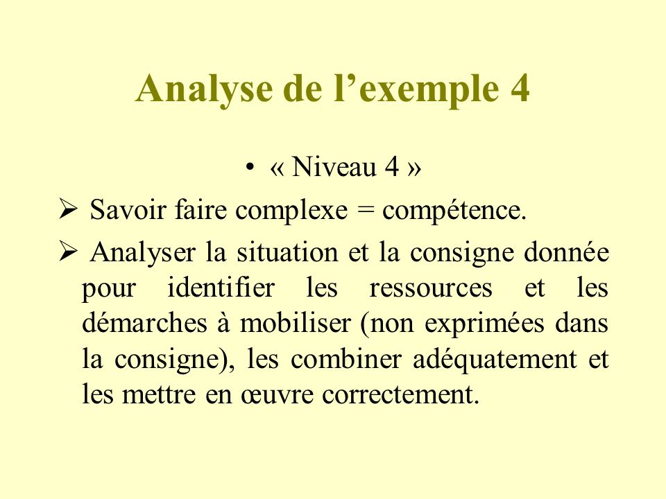 Analyse de l'exemple 4 « Niveau 4 »
