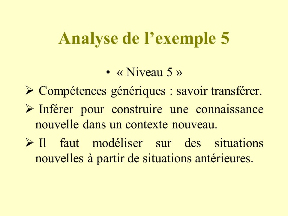 Analyse de l'exemple 5 « Niveau 5 »