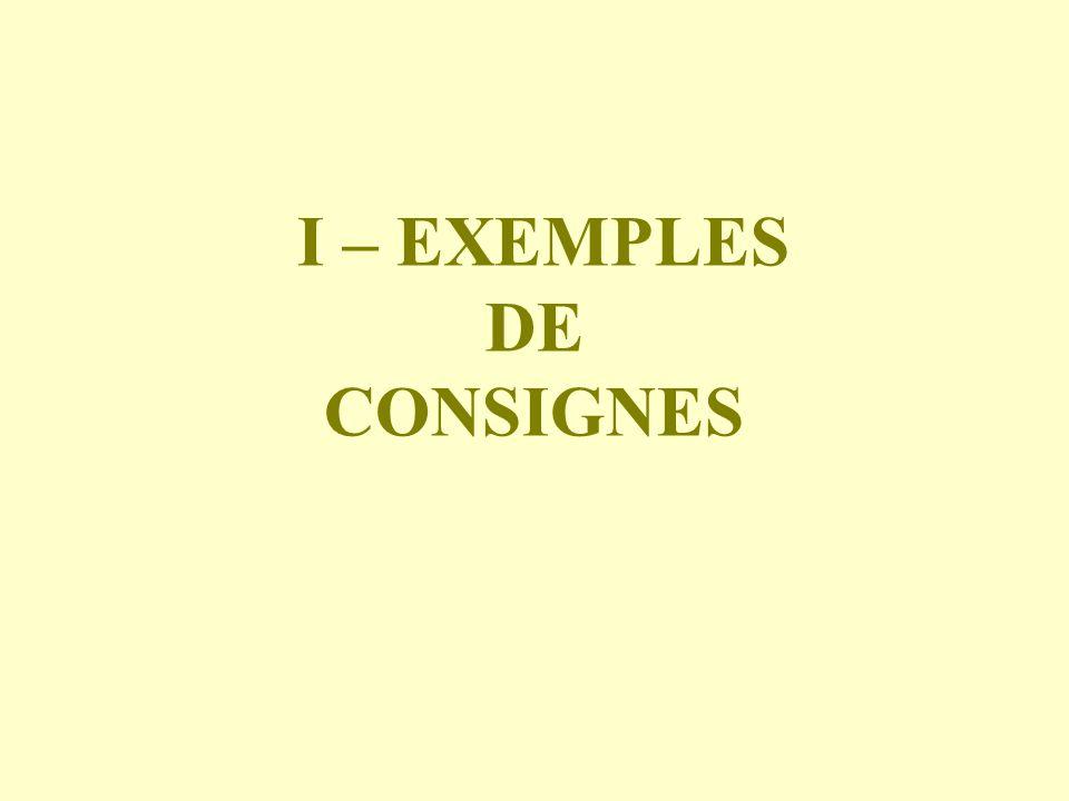 I – EXEMPLES DE CONSIGNES