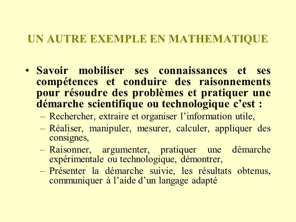 UN AUTRE EXEMPLE EN MATHEMATIQUE