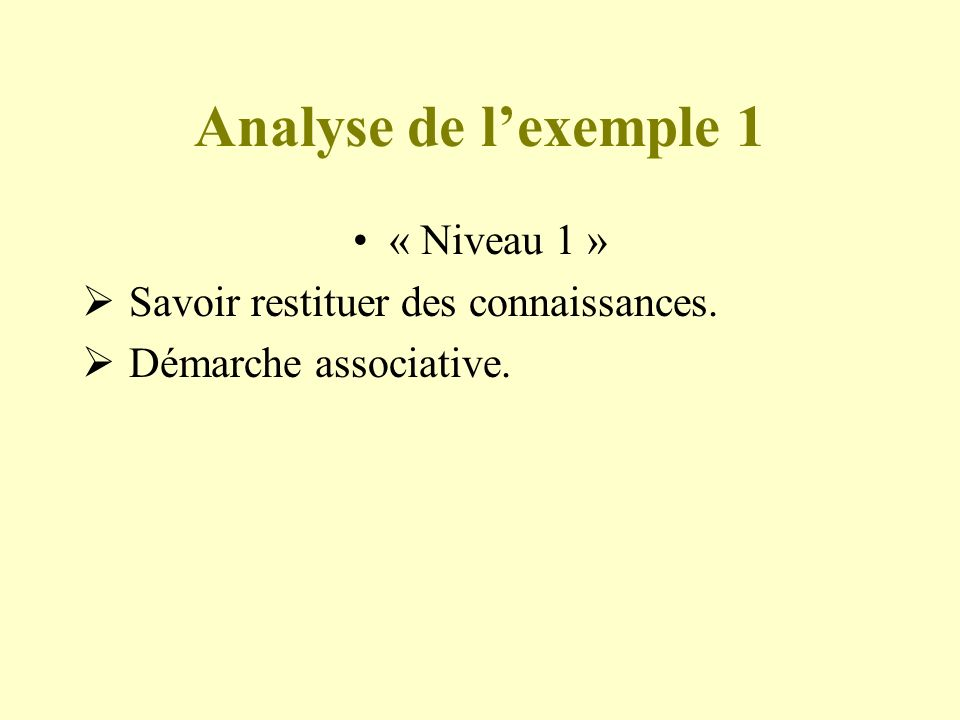 Analyse de l'exemple 1 « Niveau 1 »