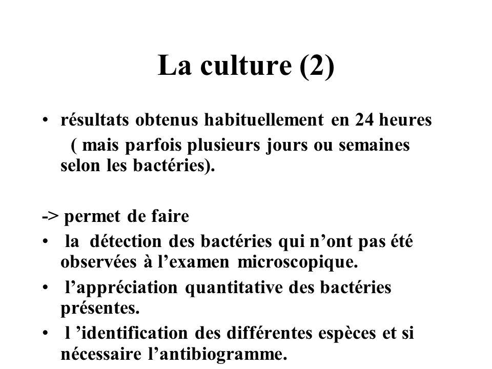 La culture (2) résultats obtenus habituellement en 24 heures