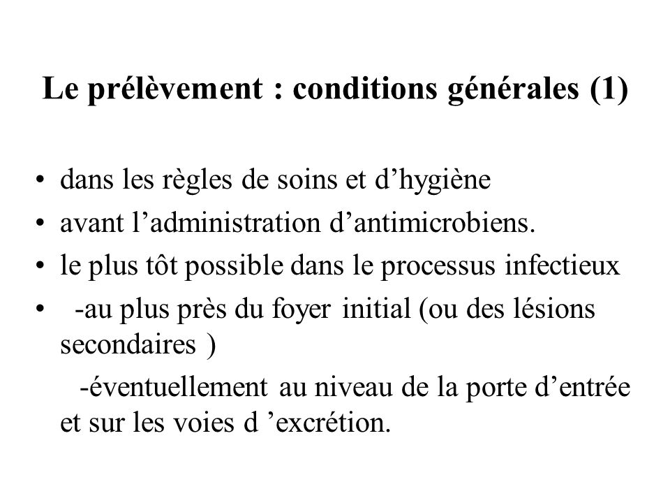 Le prélèvement : conditions générales (1)