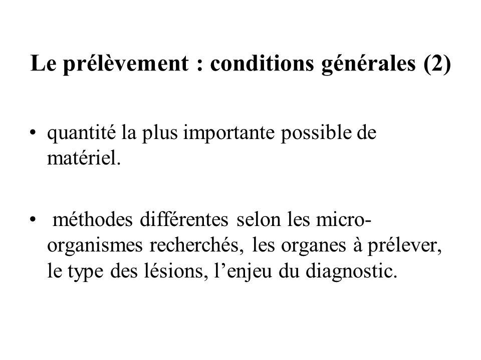 Le prélèvement : conditions générales (2)