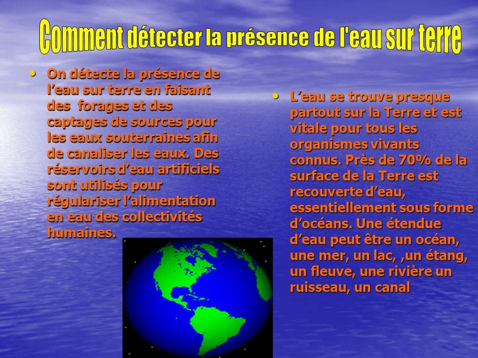 Comment détecter la présence de l eau sur terre