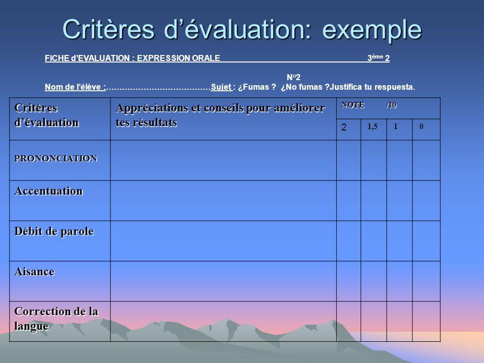 Critères d'évaluation: exemple