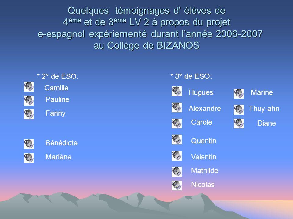 Quelques témoignages d' élèves de 4ème et de 3ème LV 2 à propos du projet e-espagnol expériementé durant l'année 2006-2007 au Collège de BIZANOS