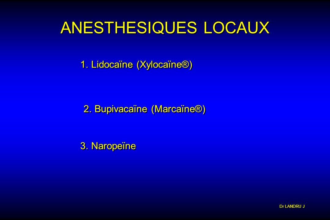 ANESTHESIQUES LOCAUX Lidocaïne (Xylocaïne®) Bupivacaïne (Marcaïne®)