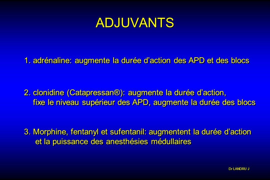 ADJUVANTS adrénaline: augmente la durée d'action des APD et des blocs
