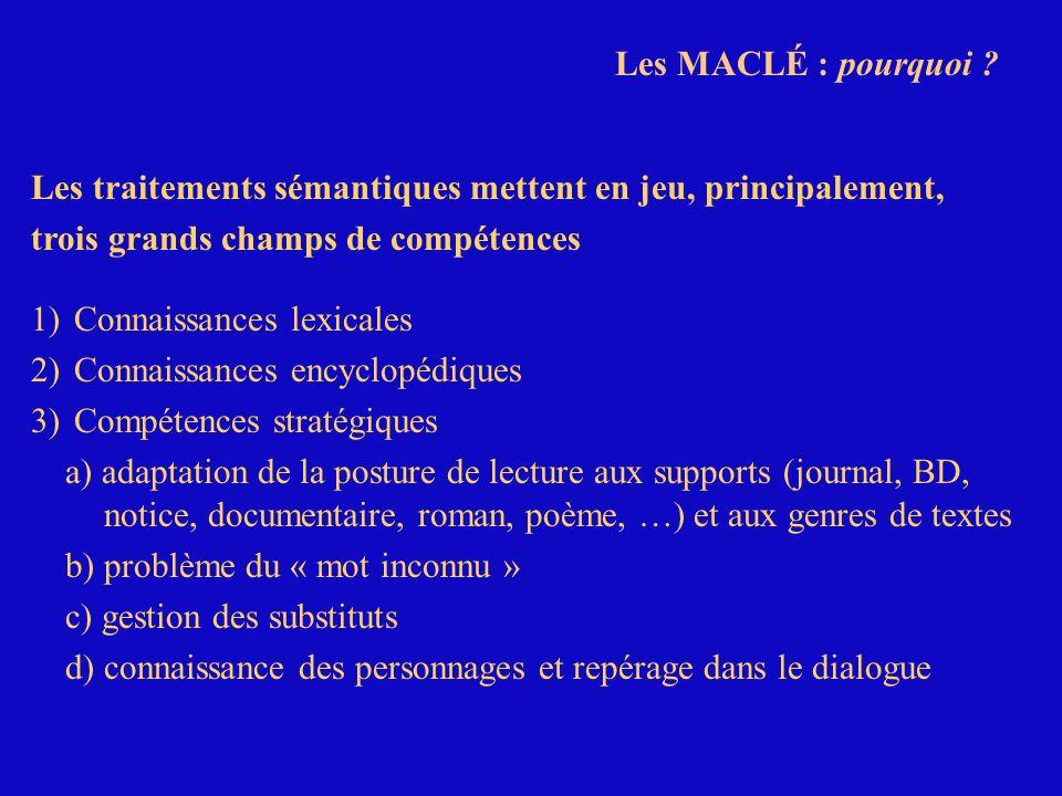 Les MACLÉ : pourquoi Les traitements sémantiques mettent en jeu, principalement, trois grands champs de compétences.