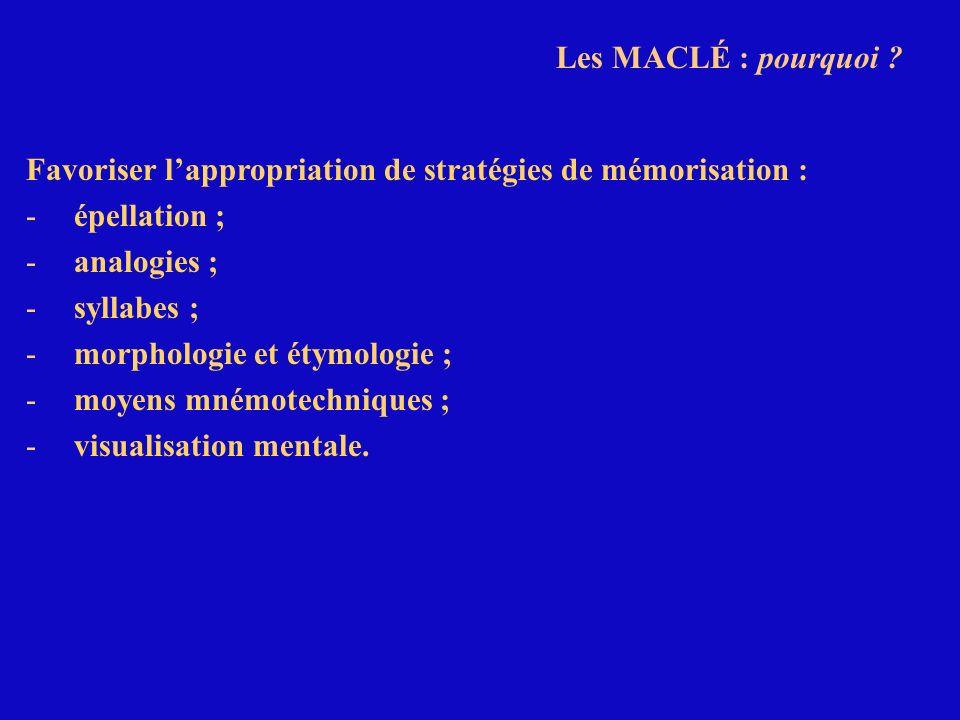 Les MACLÉ : pourquoi Favoriser l'appropriation de stratégies de mémorisation : épellation ; analogies ;