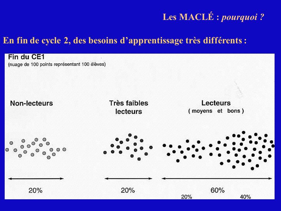 Les MACLÉ : pourquoi En fin de cycle 2, des besoins d'apprentissage très différents :