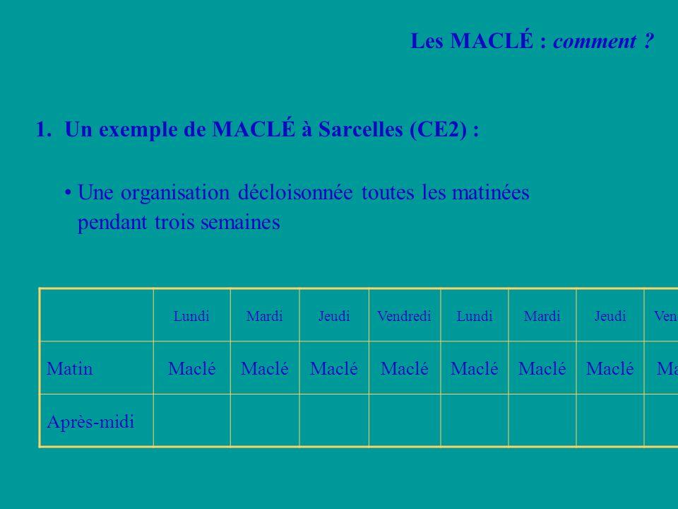 Un exemple de MACLÉ à Sarcelles (CE2) :