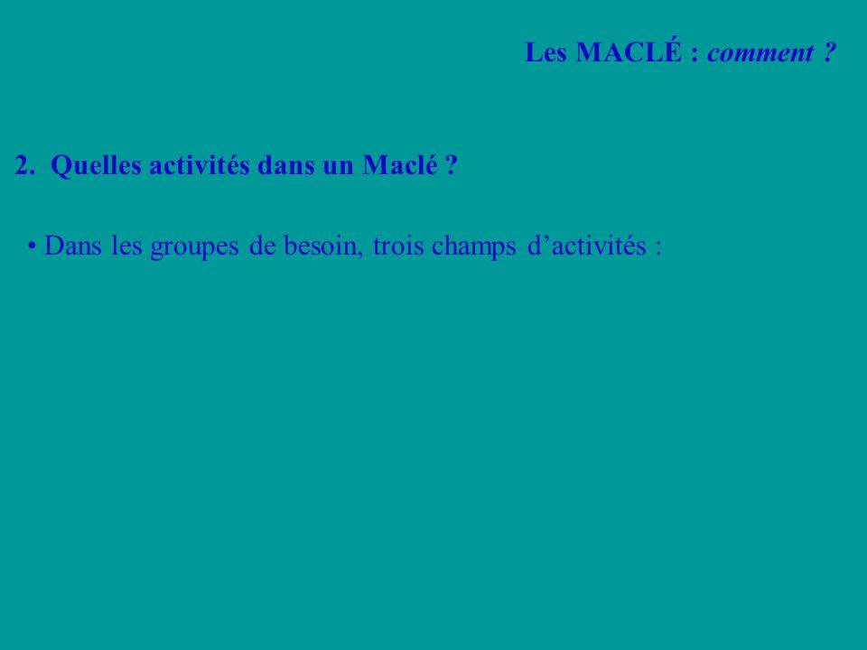 Les MACLÉ : comment . 2. Quelles activités dans un Maclé .