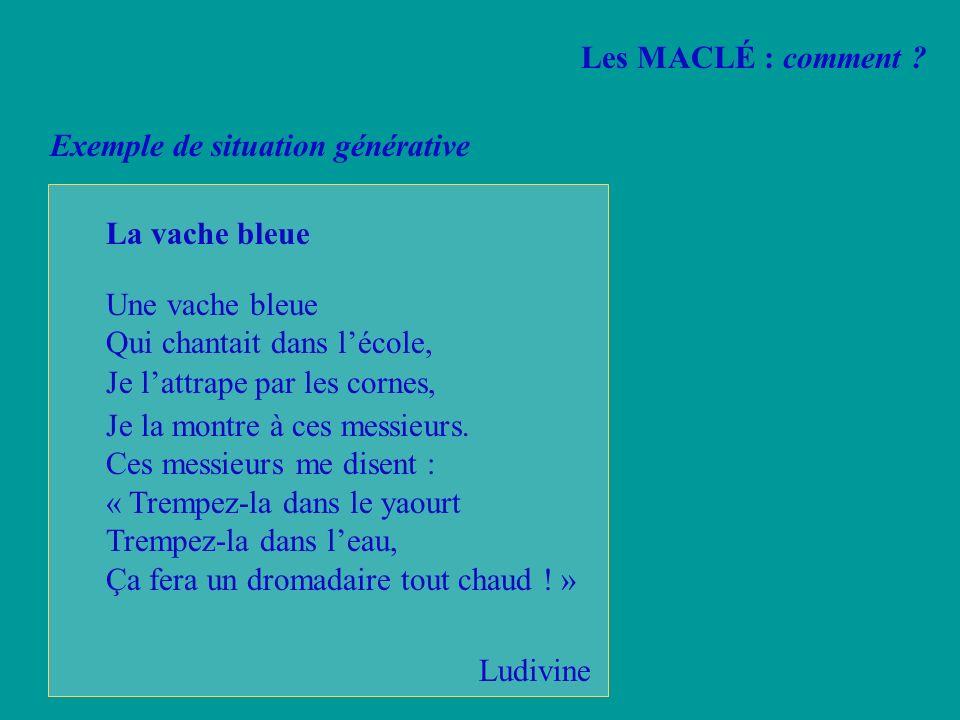Les MACLÉ : comment Exemple de situation générative. La vache bleue. Une vache bleue. Qui chantait dans l'école,