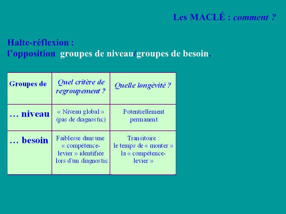 Halte-réflexion : l'opposition groupes de niveau/groupes de besoin.