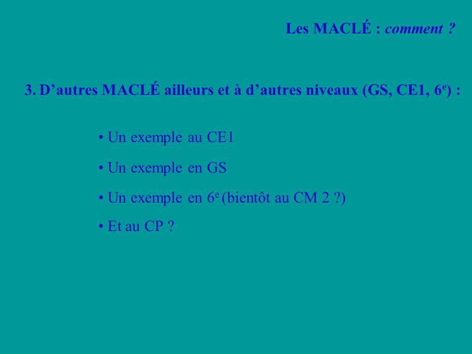 Les MACLÉ : comment 3. D'autres MACLÉ ailleurs et à d'autres niveaux (GS, CE1, 6e) : • Un exemple au CE1.