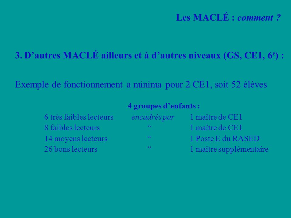 3. D'autres MACLÉ ailleurs et à d'autres niveaux (GS, CE1, 6e) :