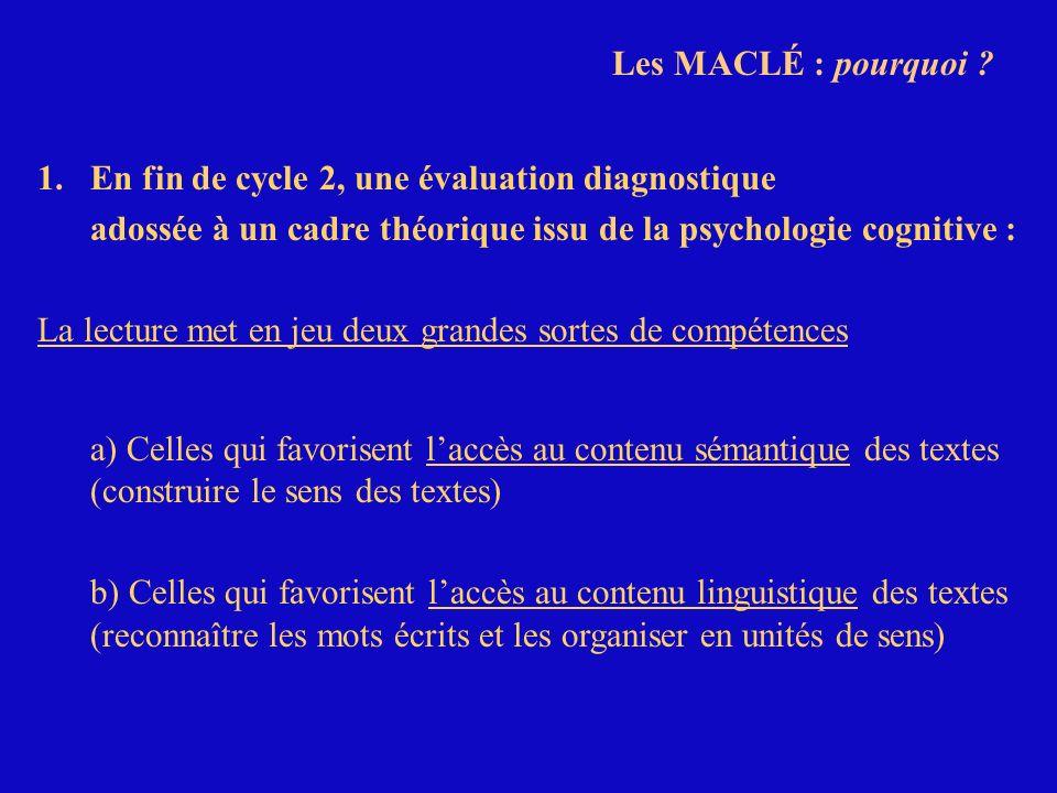 Les MACLÉ : pourquoi 1. En fin de cycle 2, une évaluation diagnostique. adossée à un cadre théorique issu de la psychologie cognitive :