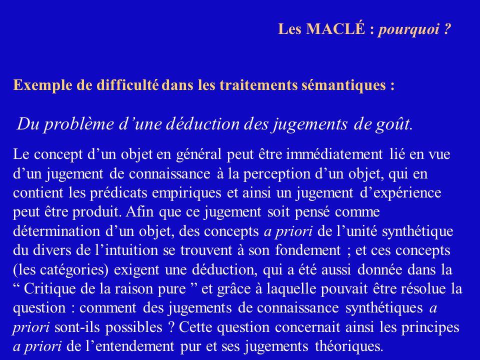 Les MACLÉ : pourquoi Exemple de difficulté dans les traitements sémantiques : Du problème d'une déduction des jugements de goût.