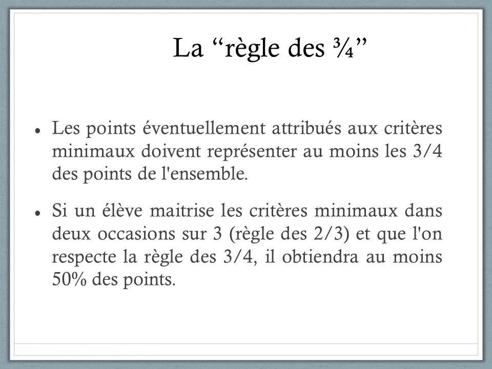 La règle des ¾ Les points éventuellement attribués aux critères minimaux doivent représenter au moins les 3/4 des points de l ensemble.