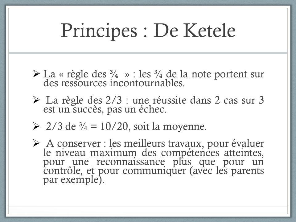 Principes : De Ketele La « règle des ¾ » : les ¾ de la note portent sur des ressources incontournables.