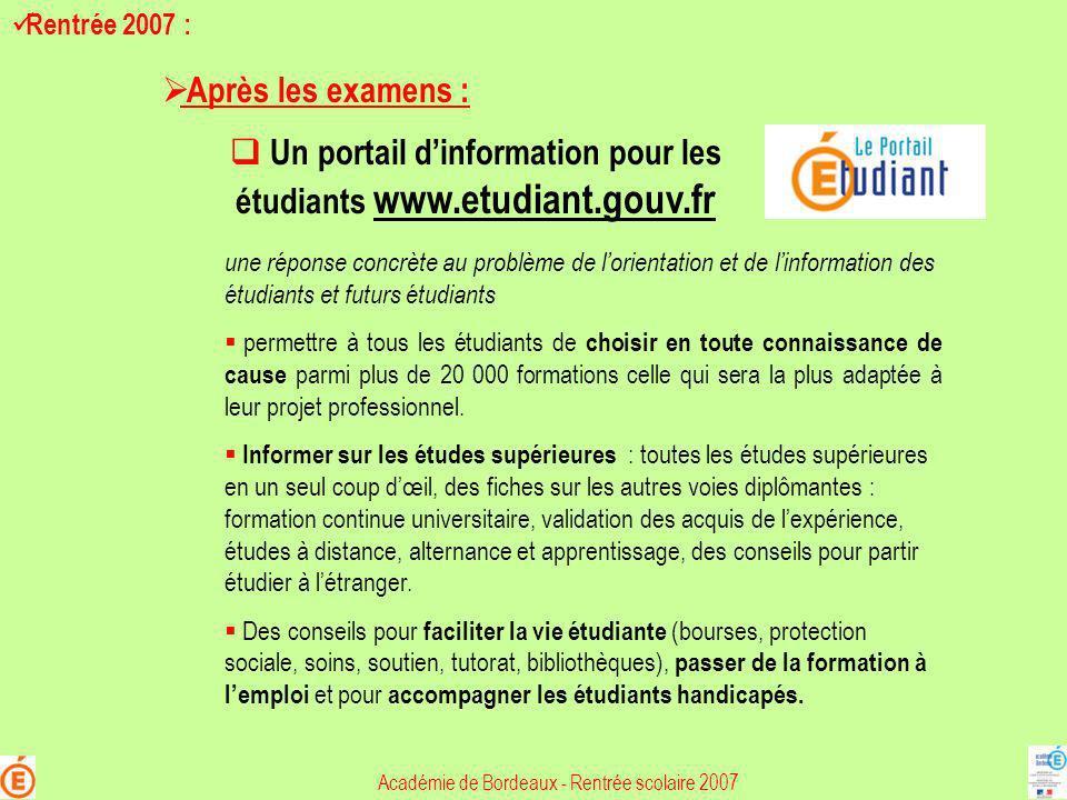 Un portail d'information pour les étudiants www.etudiant.gouv.fr