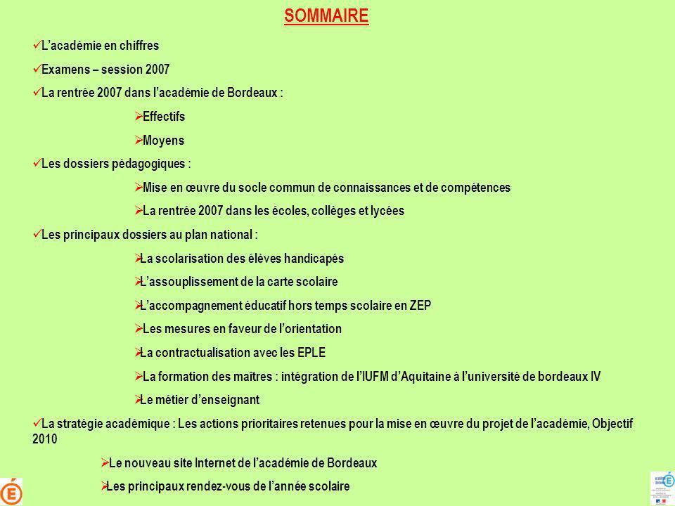SOMMAIRE L'académie en chiffres Examens – session 2007