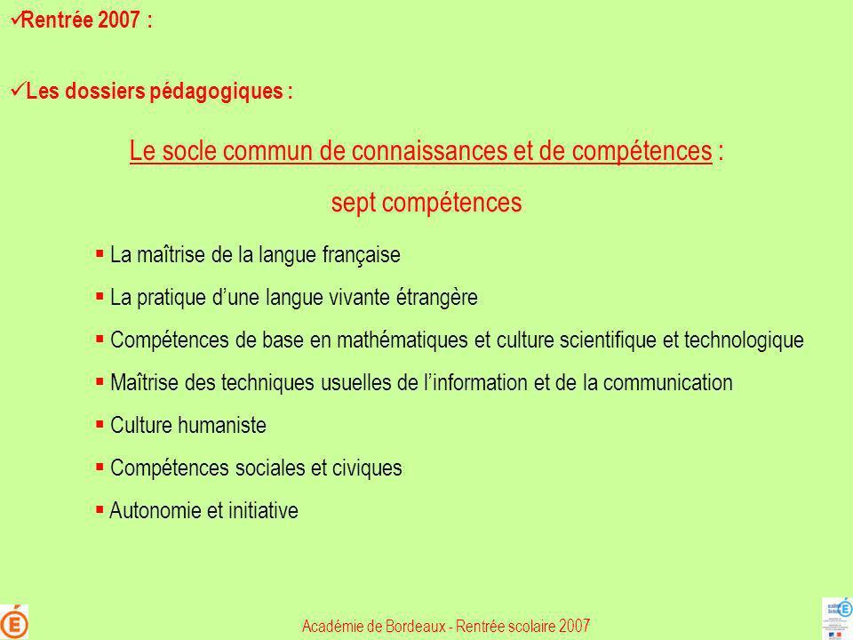 Le socle commun de connaissances et de compétences : sept compétences