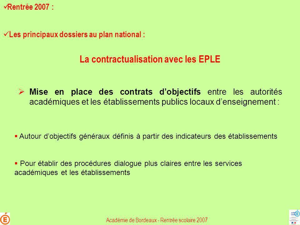 La contractualisation avec les EPLE