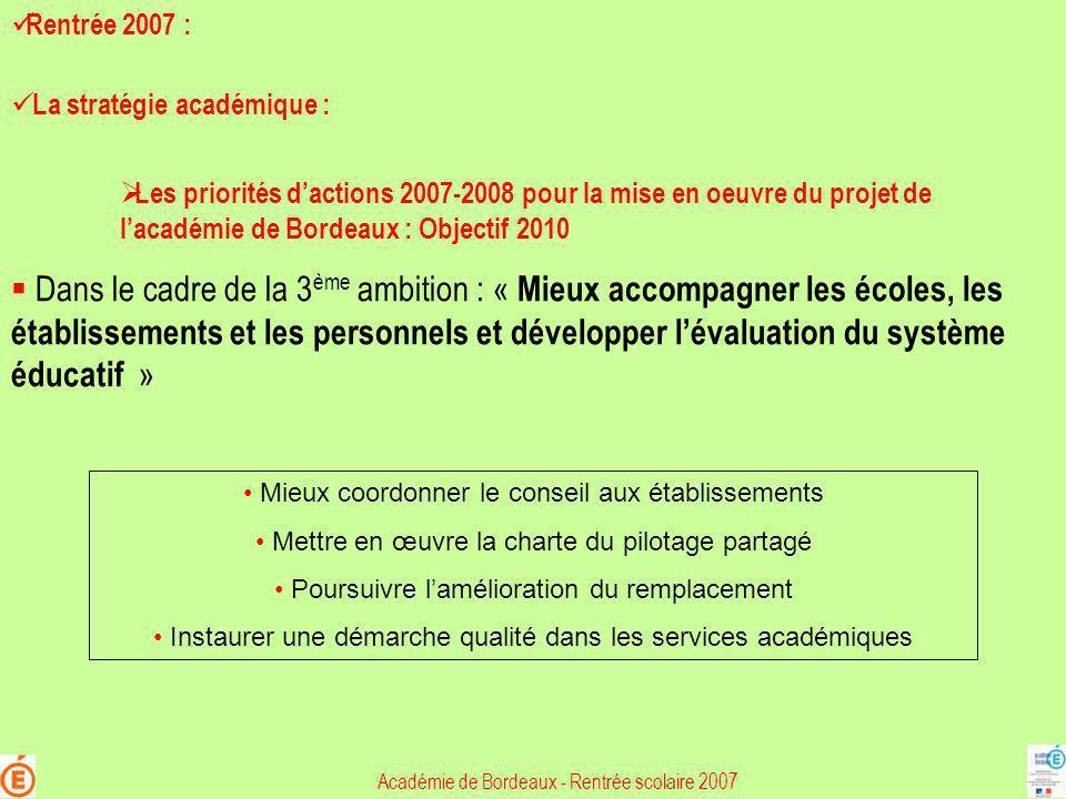 Rentrée 2007 : La stratégie académique :