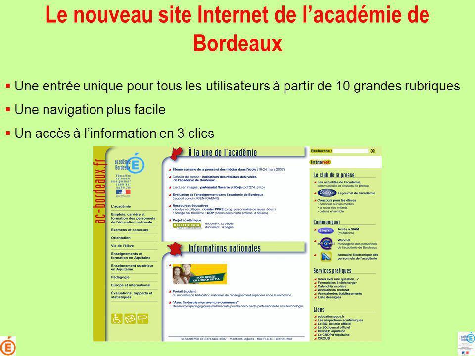 Le nouveau site Internet de l'académie de Bordeaux
