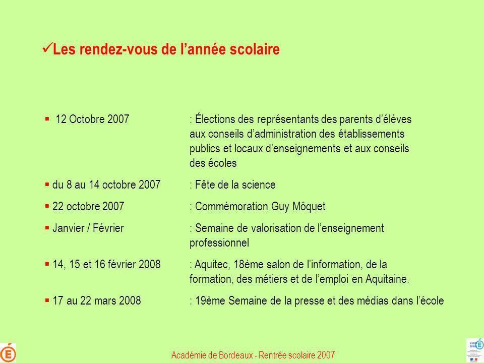 Académie de Bordeaux - Rentrée scolaire 2007