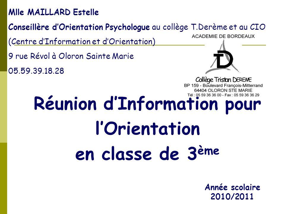 Réunion d'Information pour l'Orientation en classe de 3ème