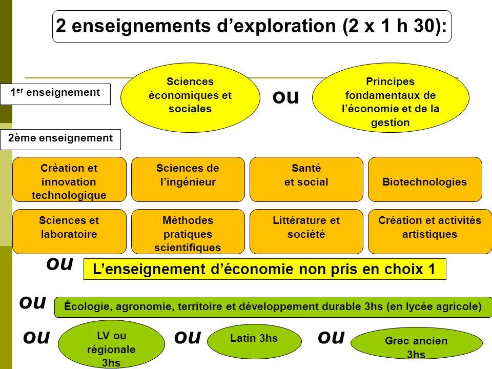 ou ou ou ou ou ou 2 enseignements d'exploration (2 x 1 h 30):
