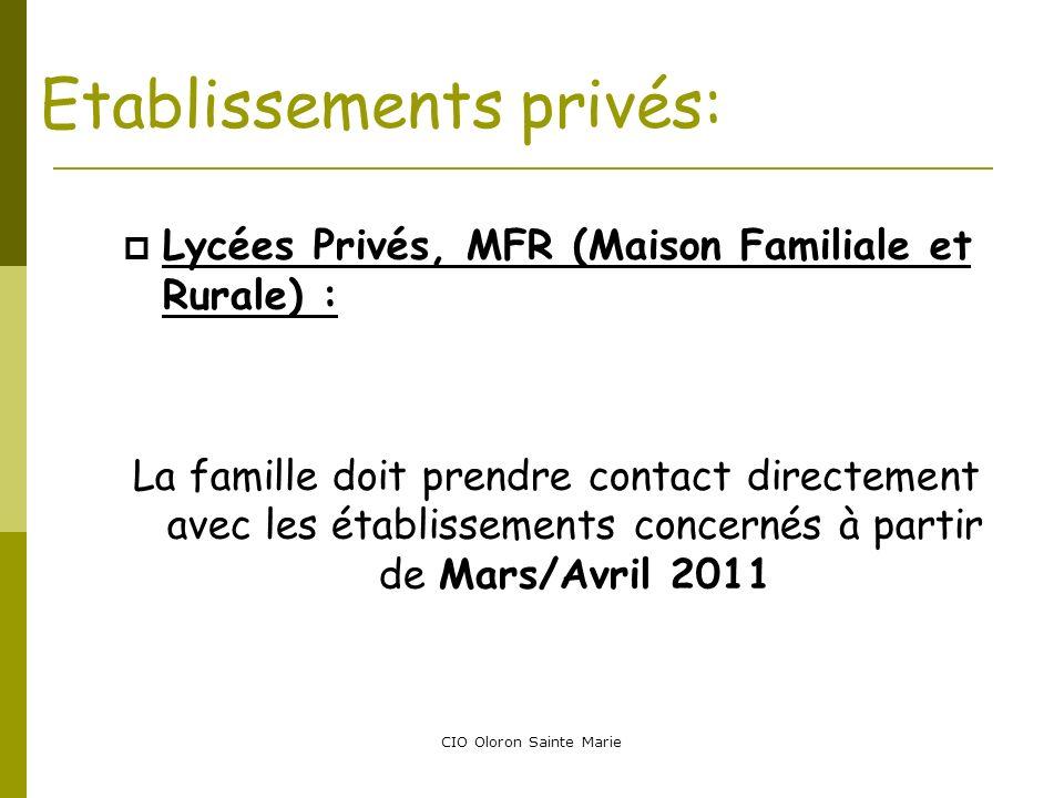 Etablissements privés: