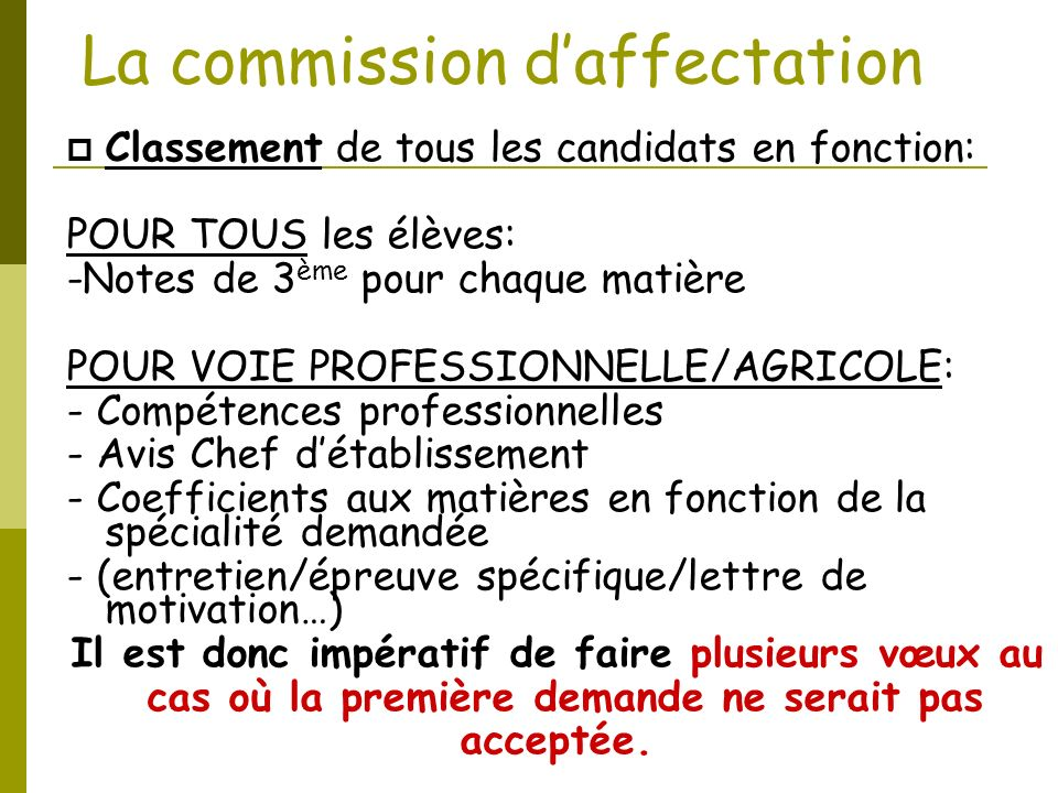 La commission d'affectation
